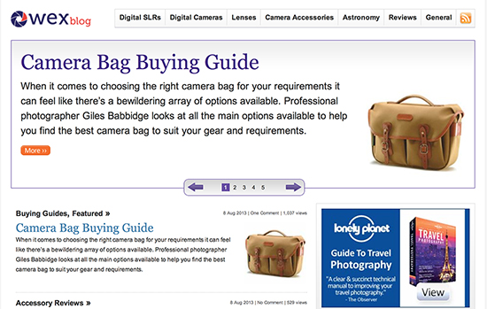 Writing For Wex Photographic (Bag Buying Guide)